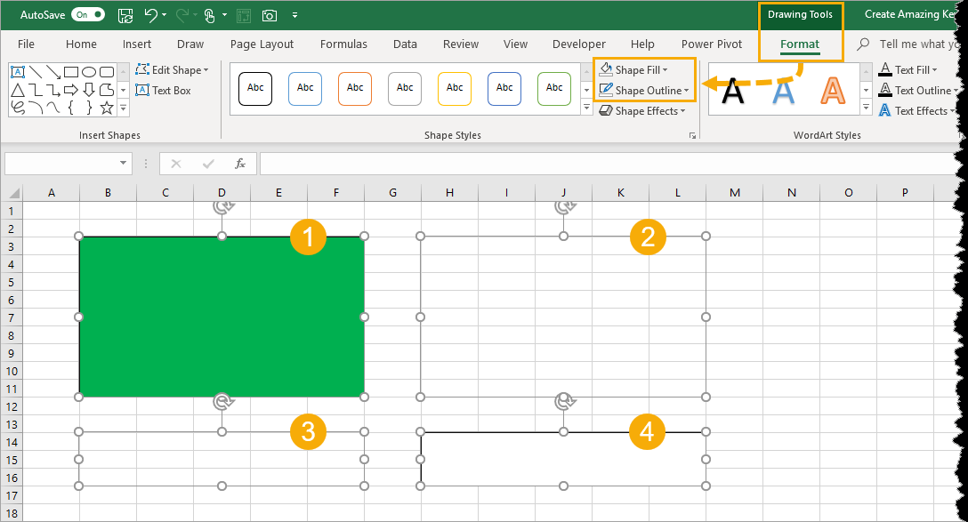 Add-Shape-Fill-And-Outline Create Amazing Key Performance Indicator Data Cards In Excel