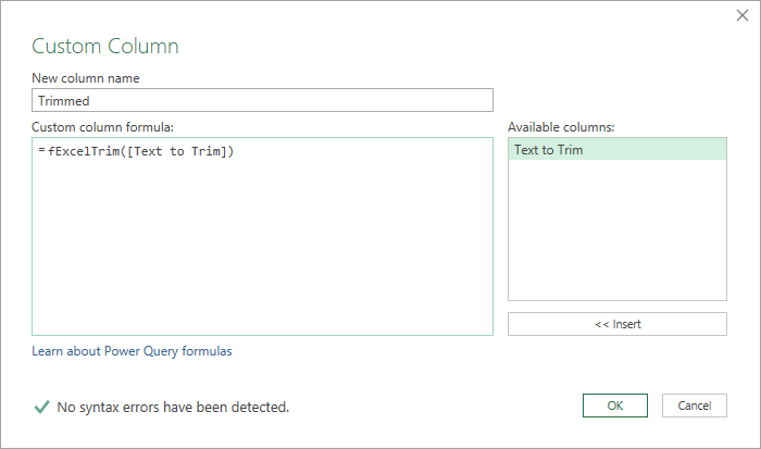 Add-Formula-Query-Custom-Column Replicate Excel's TRIM Function In Power Query