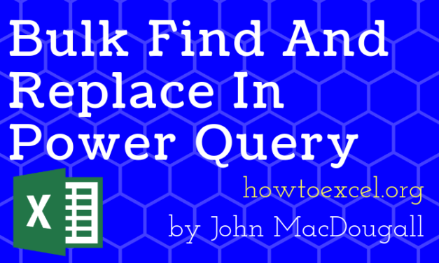 Bulk Find And Replace In Power Query