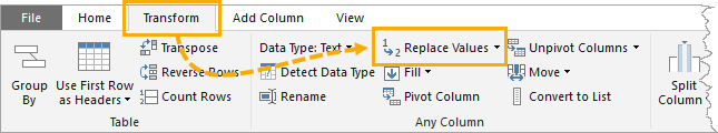 Ribbon-Replace-Values Bulk Find And Replace In Power Query