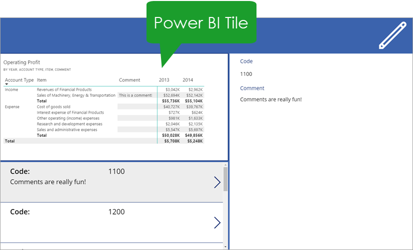 Power-BI-Tile Integrating Power BI And PowerApps