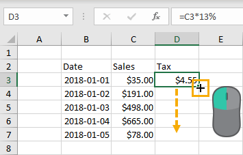 Click-and-Drag-to-Copy-Down 37 Awesome Excel Mouse Tips & Tricks You Should Know