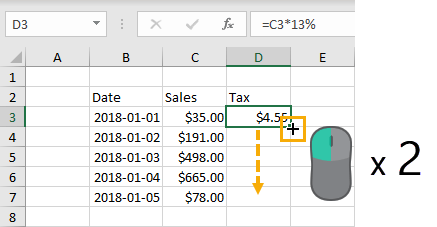 Double-Click-to-Copy-Down 37 Awesome Excel Mouse Tips & Tricks You Should Know