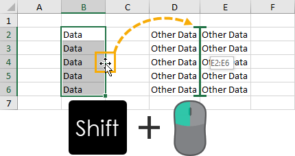 Shift-Left-Click-and-Drag-for-Cut-and-Paste 37 Awesome Excel Mouse Tips & Tricks You Should Know