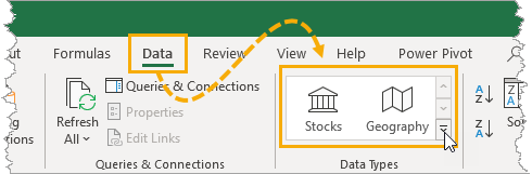 Data-Types-in-the-Data-Tab The Complete Guide to Rich Data Types in Excel