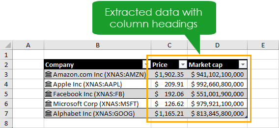 Extracted-Data-in-a-Table The Complete Guide to Rich Data Types in Excel