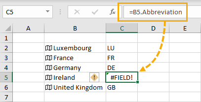 Field-Error The Complete Guide to Rich Data Types in Excel