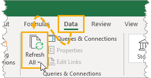 Refresh-Command-in-the-Data-Tab The Complete Guide to Rich Data Types in Excel