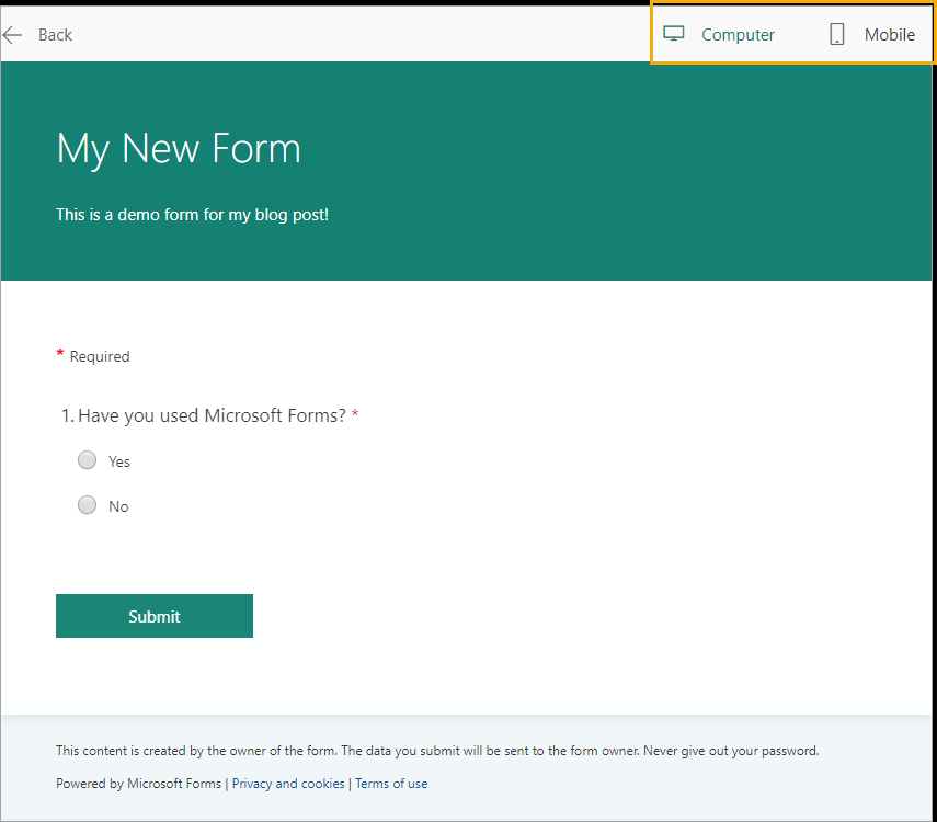 Form-Preview An Introduction to Microsoft Forms for Excel