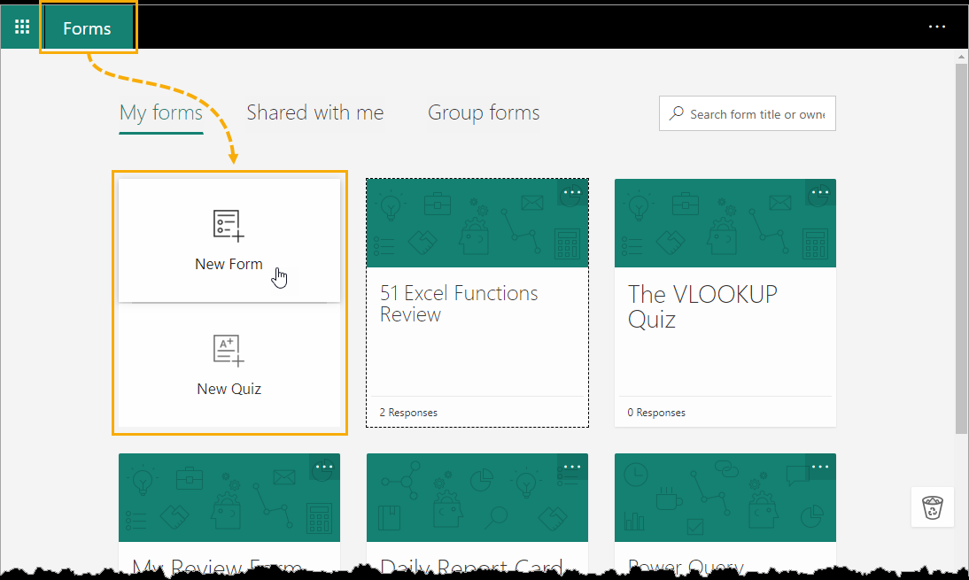 New-Form-in-Office-Forms An Introduction to Microsoft Forms for Excel
