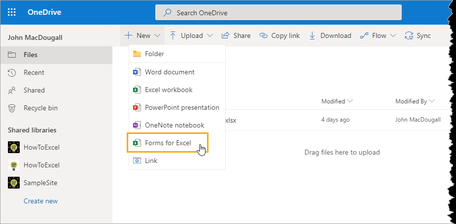 New-Form-in-OneDrive An Introduction to Microsoft Forms for Excel