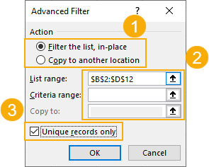 Advanced-Filter-Window 7 Ways To Find And Remove Duplicate Values In Microsoft Excel