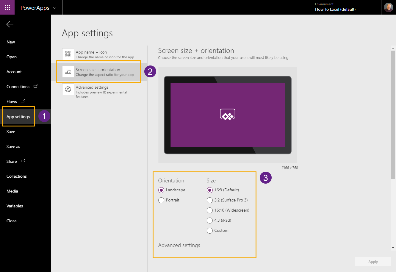 Screen-Size-Orientation-and-Advanced-Settings The Complete Guide To Microsoft PowerApps