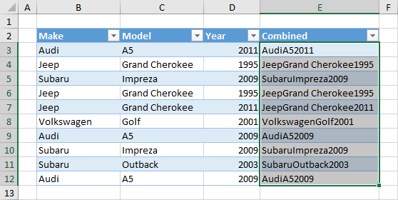 Select-Combined-Data-Only 7 Ways To Find And Remove Duplicate Values In Microsoft Excel