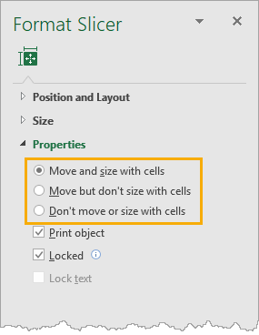 Move-and-Resize-with-Cells The Complete Guide To Slicers And Timelines In Microsoft Excel