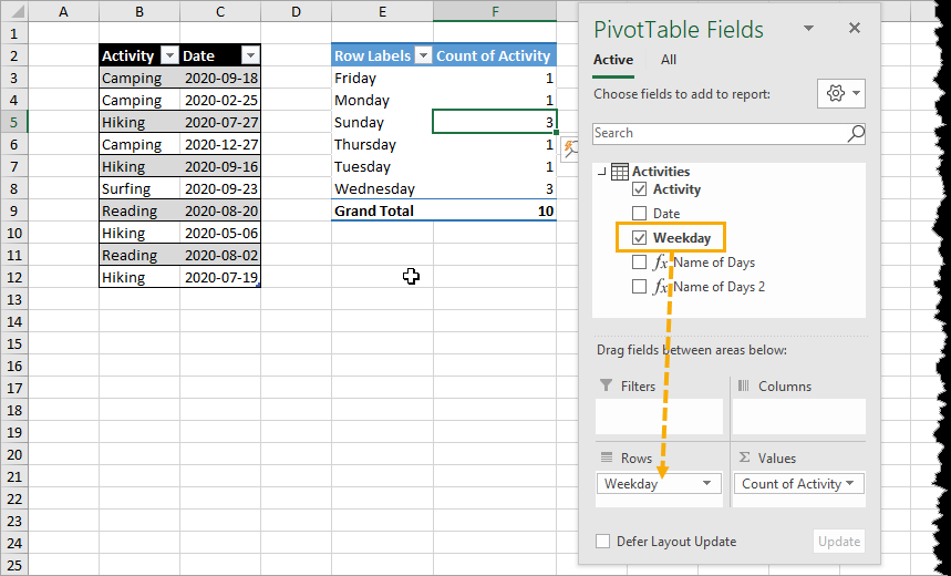 Calculated-Column-in-the-Rows-Area 7 Ways To Get The Weekday Name From A Date In Excel
