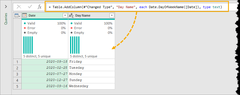 Power-Query-Name-of-Day-Results 7 Ways To Get The Weekday Name From A Date In Excel