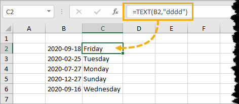 Weekday-Name-from-TEXT-Function 7 Ways To Get The Weekday Name From A Date In Excel
