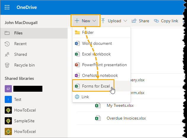 Create-Form-for-Excel-in-OneDrive 5 Easy Ways To Create A Data Entry Form In Excel