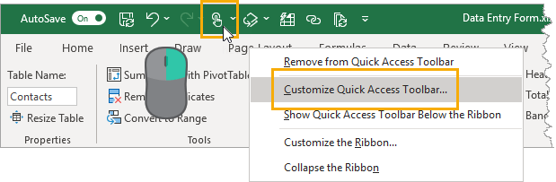 Customize-the-Quick-Access-Toolbar 5 Easy Ways To Create A Data Entry Form In Excel