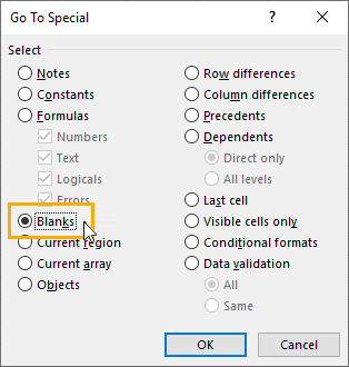 Go-To-Special-Menu 9 Ways to Delete Blank Rows in Excel