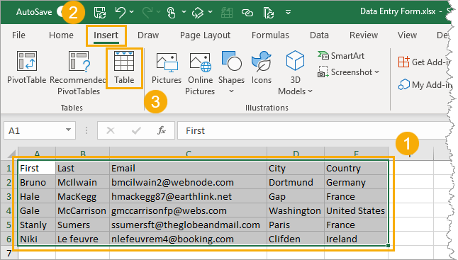 Insert-a-Table-from-Ribbon 5 Easy Ways To Create A Data Entry Form In Excel