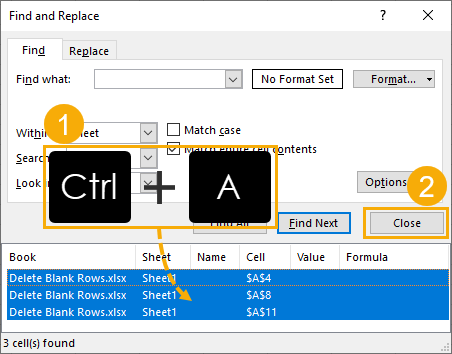 Select-All-Found-Cells 9 Ways to Delete Blank Rows in Excel