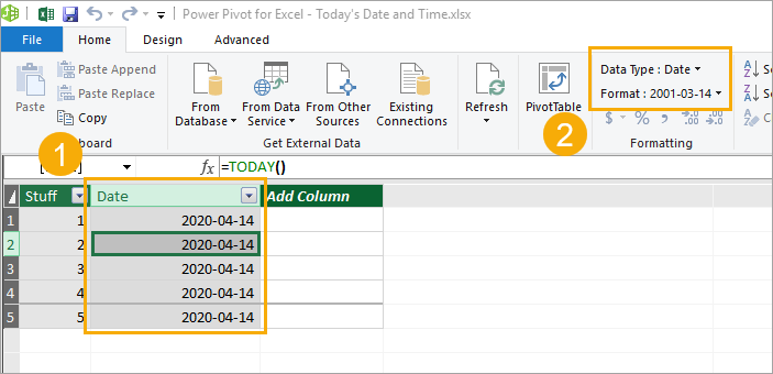 Add-TODAY-Function-Power-Pivot 5 Ways to Get the Current Date or Time in Excel