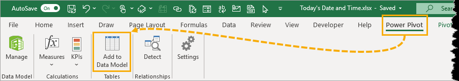 Add-to-Data-Model 5 Ways to Get the Current Date or Time in Excel