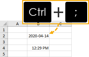 Current-Date-Keyboard-Shortcut 5 Ways to Get the Current Date or Time in Excel