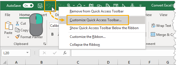 Customize-the-Quick-Access-Toolbar 5 Ways to Convert Excel Files to PDF