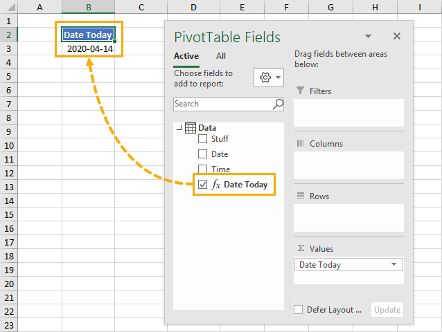 TODAY-and-NOW-Measure-in-a-Pivot-Table 5 Ways to Get the Current Date or Time in Excel