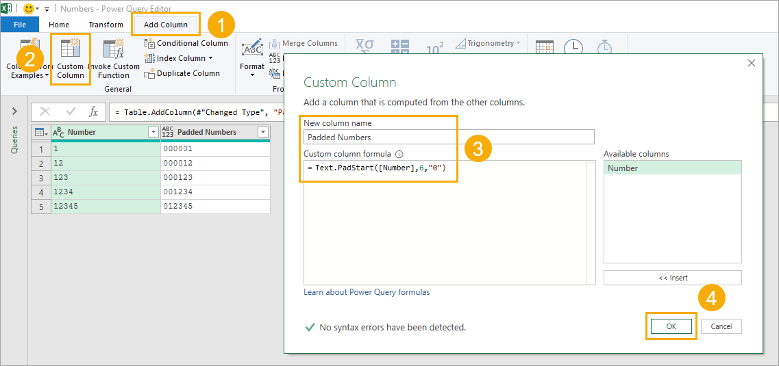 Custom-Column-with-Text.PadStart 9 Ways To Add Leading Zeros In Excel
