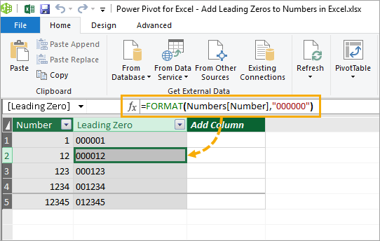 Power-Pivot-Calculated-Column-with-Leading-Zeros 9 Ways To Add Leading Zeros In Excel