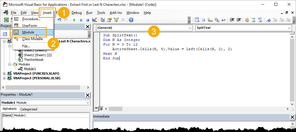 Visual-Basic-Editor 7 Ways to Extract the First or Last N Characters in Excel