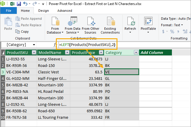 Power-Pivot-Calculated-Column-Formula 7 Ways to Extract the First or Last N Characters in Excel