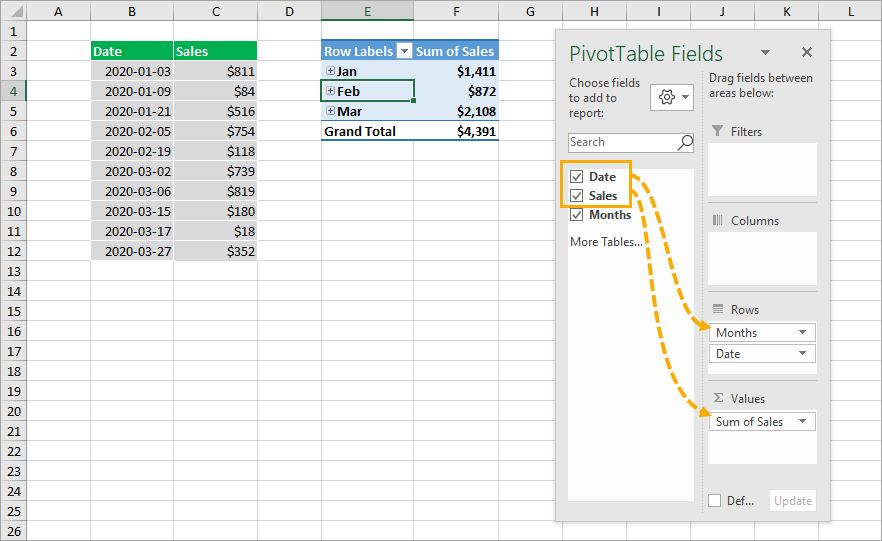 Add-Date-Field-into-Pivot-Table 8 Ways to Extract the Month Name from a Date in Excel