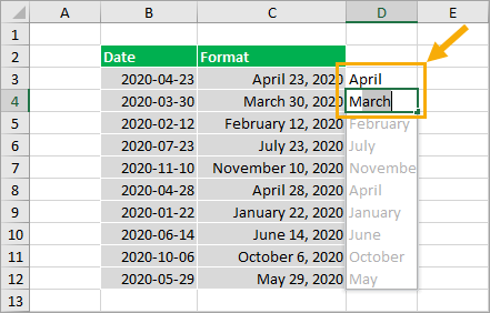 Flash-Fill-Month-Names 8 Ways to Extract the Month Name from a Date in Excel