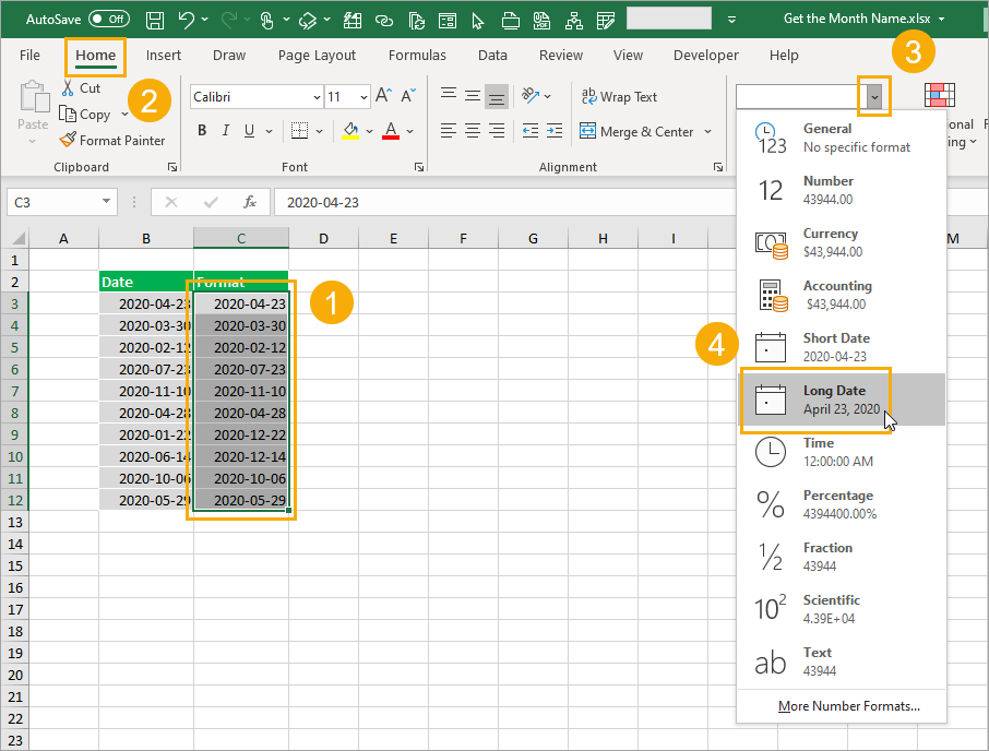 Format-as-Long-Date 8 Ways to Extract the Month Name from a Date in Excel