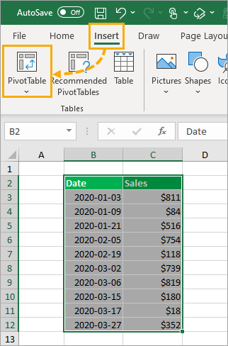 Insert-Pivot-Table 8 Ways to Extract the Month Name from a Date in Excel