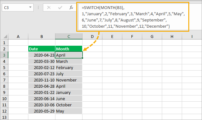 Month-Name-from-MONTH-and-SWITCH-Function 8 Ways to Extract the Month Name from a Date in Excel