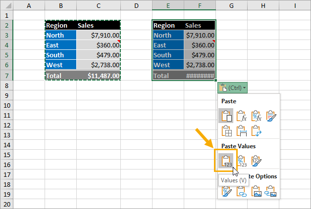 Paste-Options-Menu 9 Ways to Copy and Paste as Values in Excel