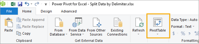 Power-Pivot-Create-Pivot-Table 8 Ways to Split Text by Delimiter in Excel