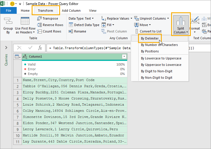 Power-Query-Transform-Split-by-Delimiter 8 Ways to Split Text by Delimiter in Excel