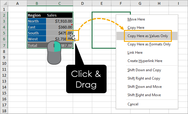 Right-Click-and-Drag-Paste-Values 9 Ways to Copy and Paste as Values in Excel